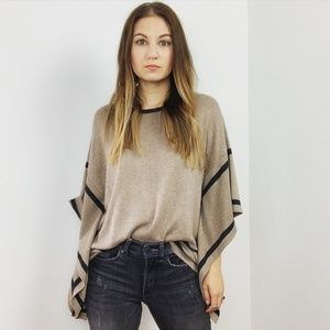August Silk Brown Striped Poncho Top